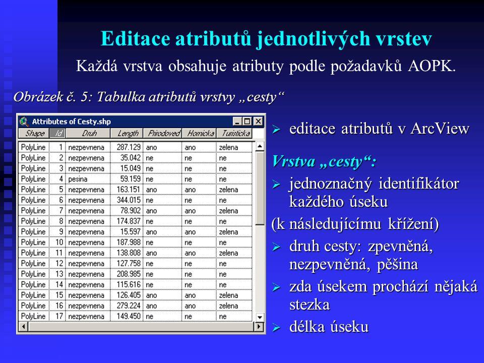 Editace atributů jednotlivých vrstev Každá vrstva obsahuje atributy podle požadavků AOPK.