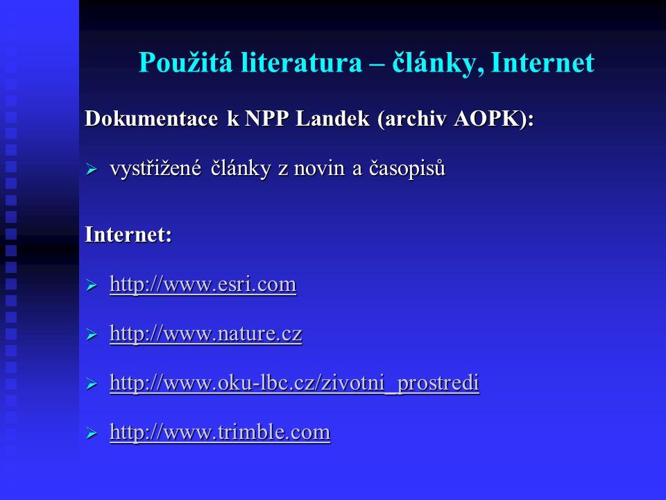 Použitá literatura – články, Internet