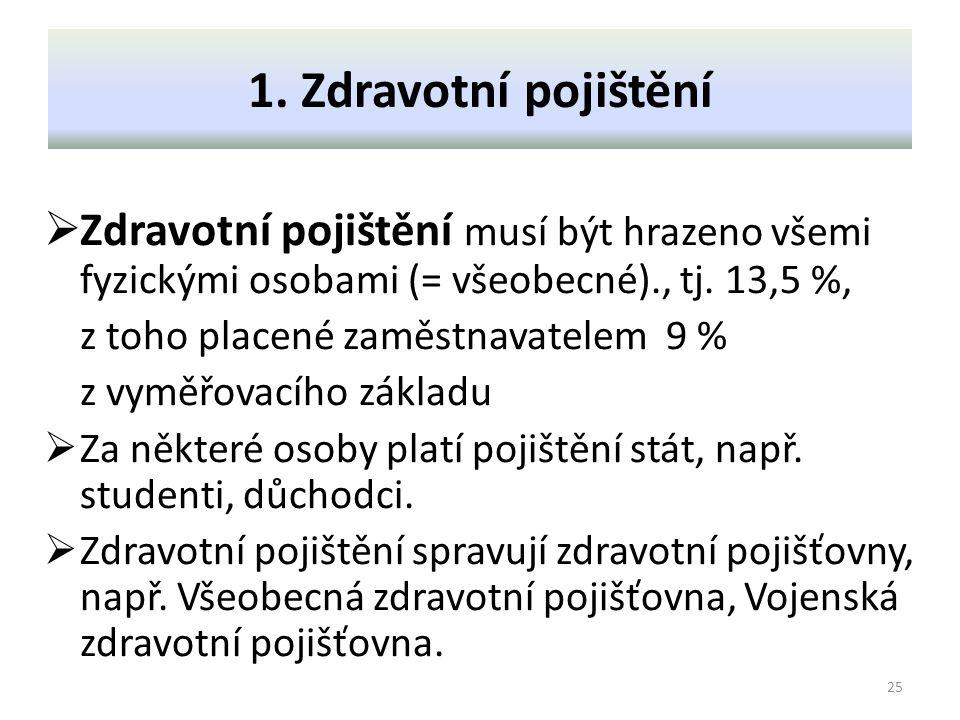 1. Zdravotní pojištění Zdravotní pojištění musí být hrazeno všemi fyzickými osobami (= všeobecné)., tj. 13,5 %,