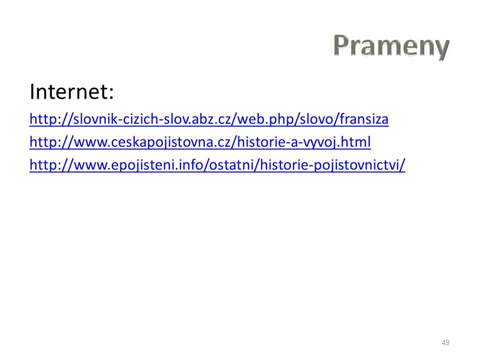 Prameny Internet: http://slovnik-cizich-slov.abz.cz/web.php/slovo/fransiza. http://www.ceskapojistovna.cz/historie-a-vyvoj.html.
