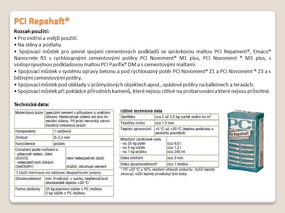 PCI Repahaft® Rozsah použití: • Pro vnitřní a vnější použití.