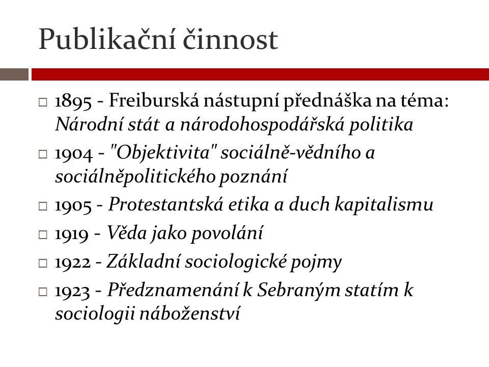Publikační činnost 1895 - Freiburská nástupní přednáška na téma: Národní stát a národohospodářská politika.