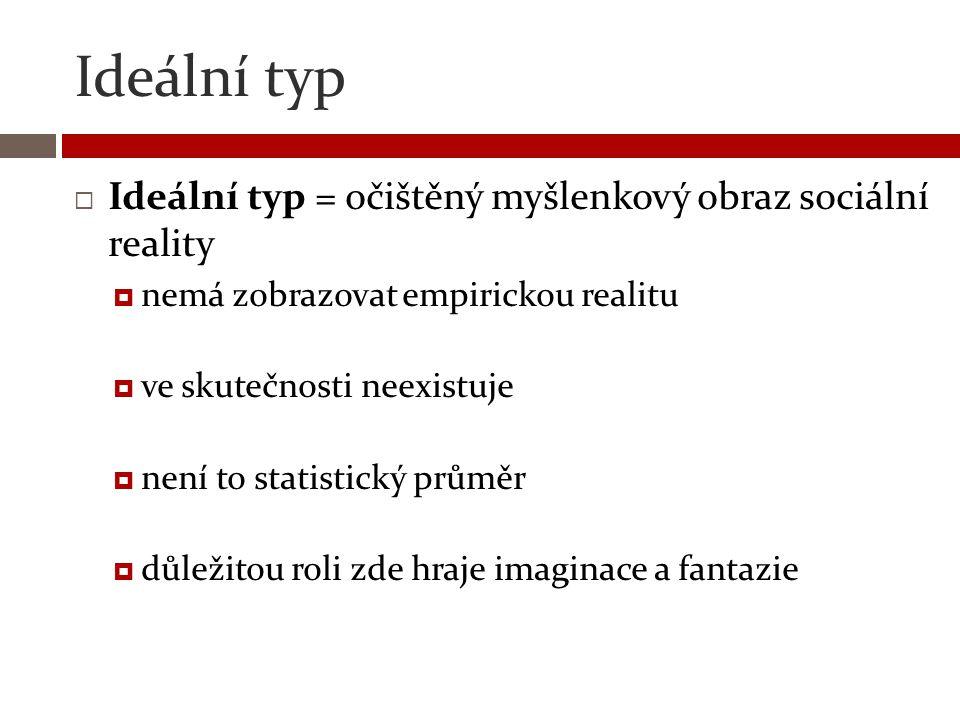 Ideální typ Ideální typ = očištěný myšlenkový obraz sociální reality