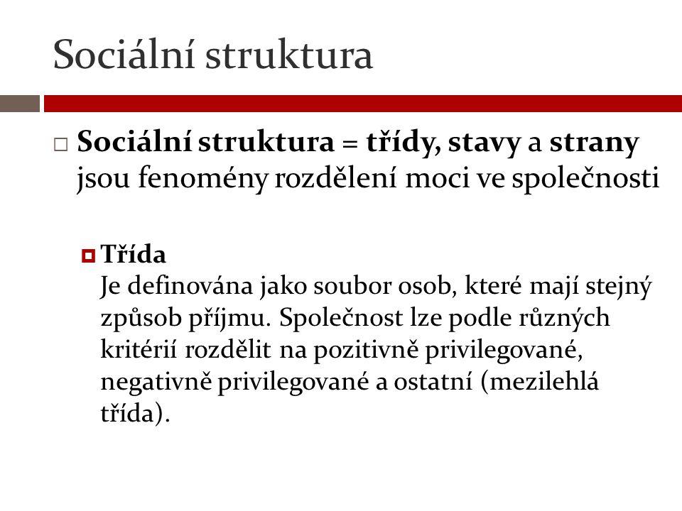 Sociální struktura Sociální struktura = třídy, stavy a strany jsou fenomény rozdělení moci ve společnosti.