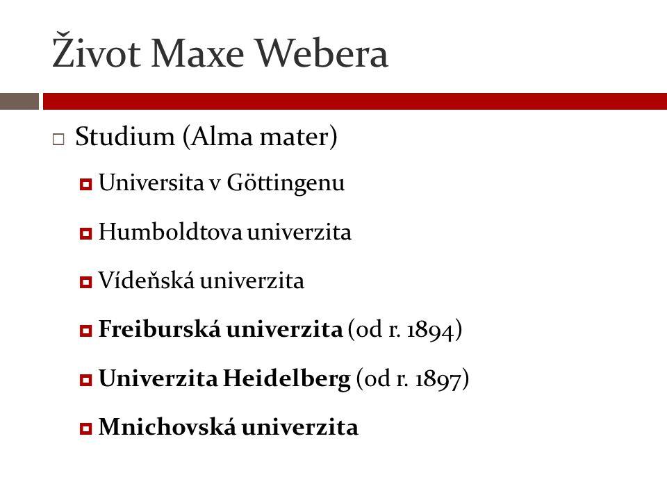 Život Maxe Webera Studium (Alma mater) Universita v Göttingenu