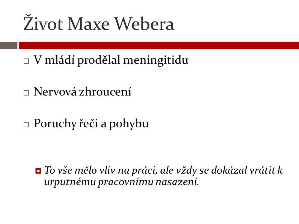 Život Maxe Webera V mládí prodělal meningitidu Nervová zhroucení