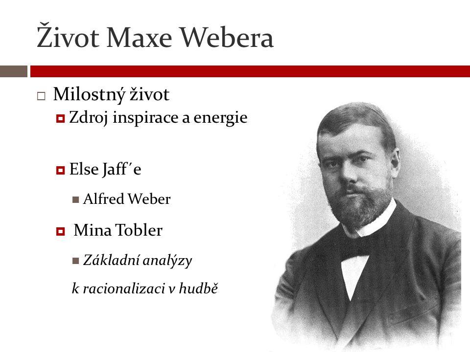 Život Maxe Webera Milostný život Zdroj inspirace a energie Else Jaff´e
