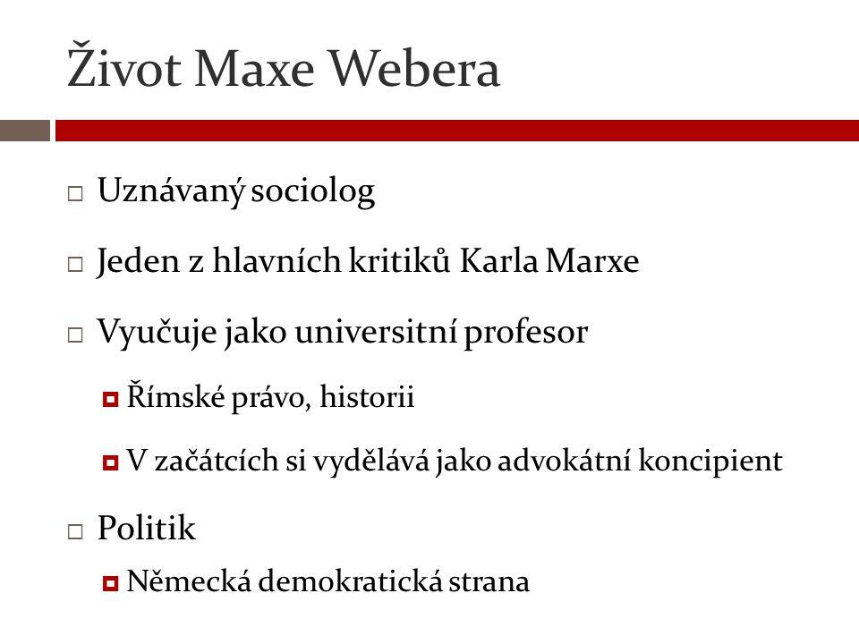 Život Maxe Webera Uznávaný sociolog