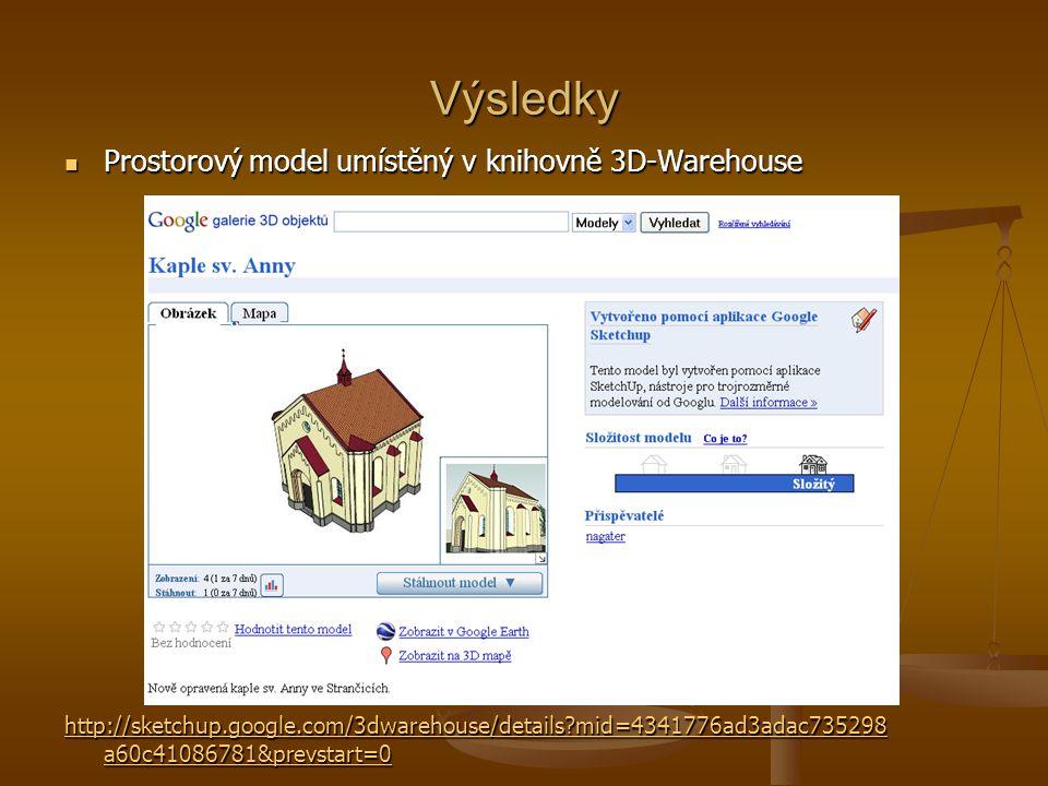 Výsledky Prostorový model umístěný v knihovně 3D-Warehouse