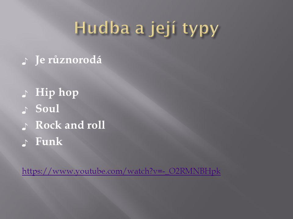 Hudba a její typy Je různorodá Hip hop Soul Rock and roll Funk