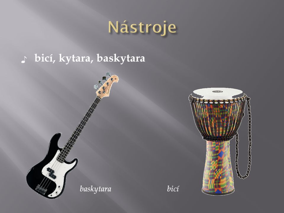 Nástroje bicí, kytara, baskytara baskytara bicí