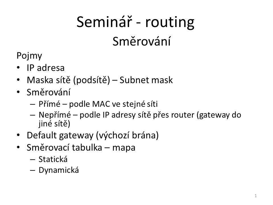 Seminář - routing Směrování Pojmy IP adresa