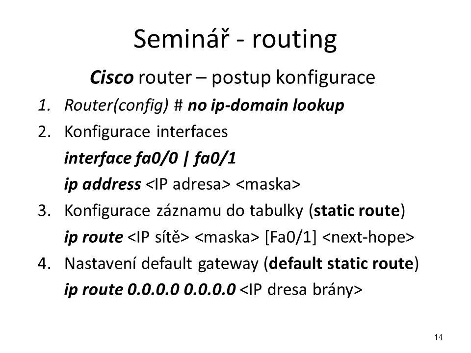 Cisco router – postup konfigurace
