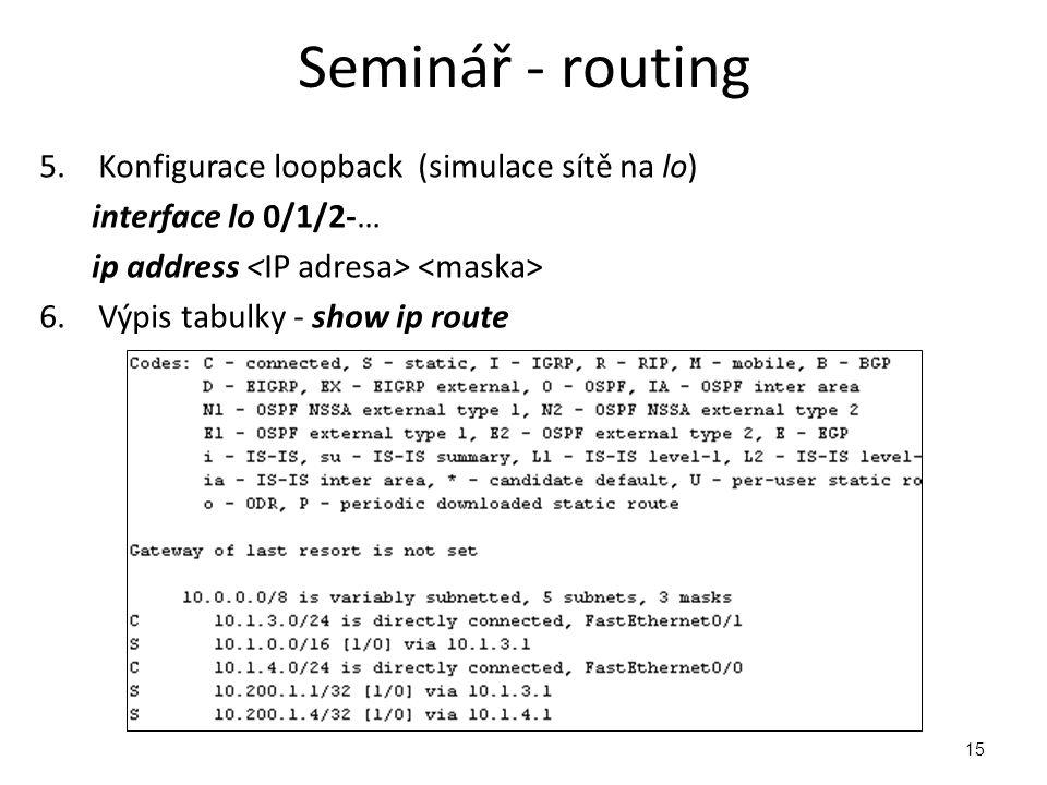 Seminář - routing Konfigurace loopback (simulace sítě na lo)