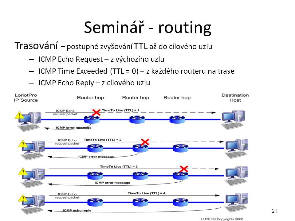 Seminář - routing Trasování – postupné zvyšování TTL až do cílového uzlu. ICMP Echo Request – z výchozího uzlu.