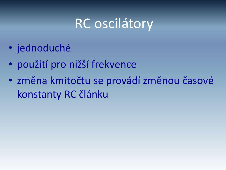 RC oscilátory jednoduché použití pro nižší frekvence