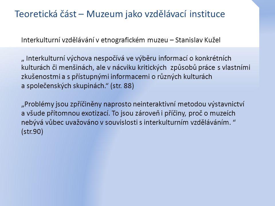 Teoretická část – Muzeum jako vzdělávací instituce