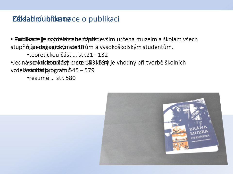 Základní informace o publikaci Obsah publikace