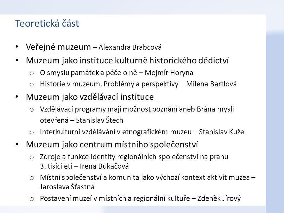 Teoretická část Veřejné muzeum – Alexandra Brabcová