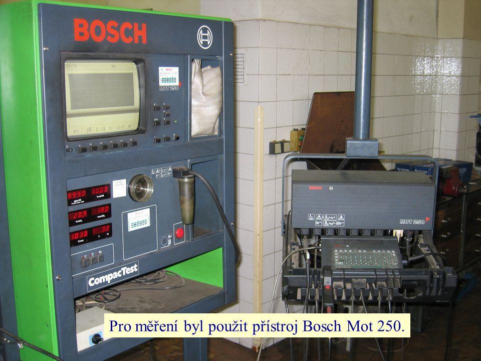 Pro měření byl použit přístroj Bosch Mot 250.