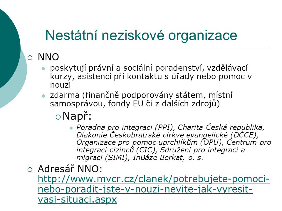 Nestátní neziskové organizace