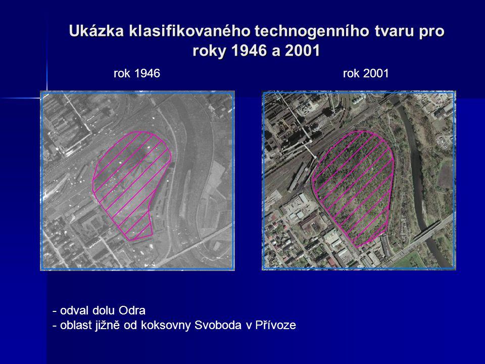 Ukázka klasifikovaného technogenního tvaru pro roky 1946 a 2001