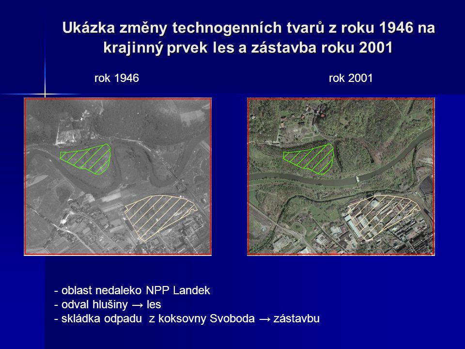 Ukázka změny technogenních tvarů z roku 1946 na krajinný prvek les a zástavba roku 2001