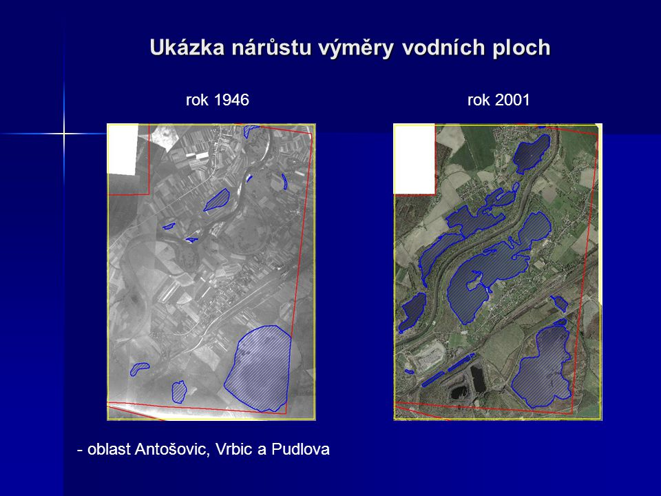 Ukázka nárůstu výměry vodních ploch