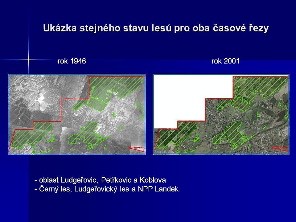 Ukázka stejného stavu lesů pro oba časové řezy