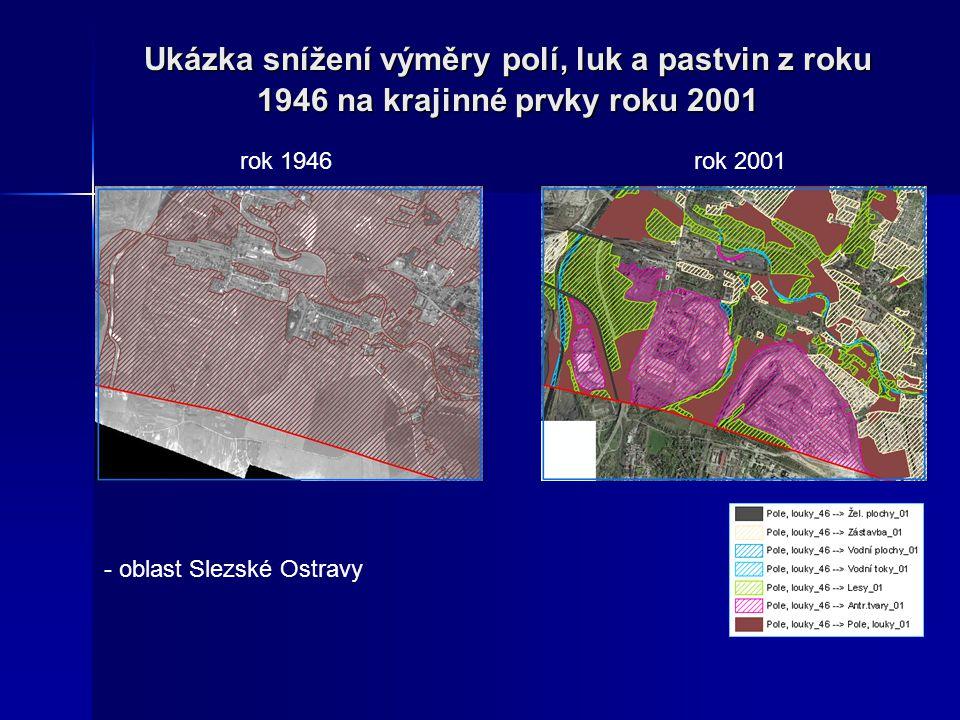 Ukázka snížení výměry polí, luk a pastvin z roku 1946 na krajinné prvky roku 2001