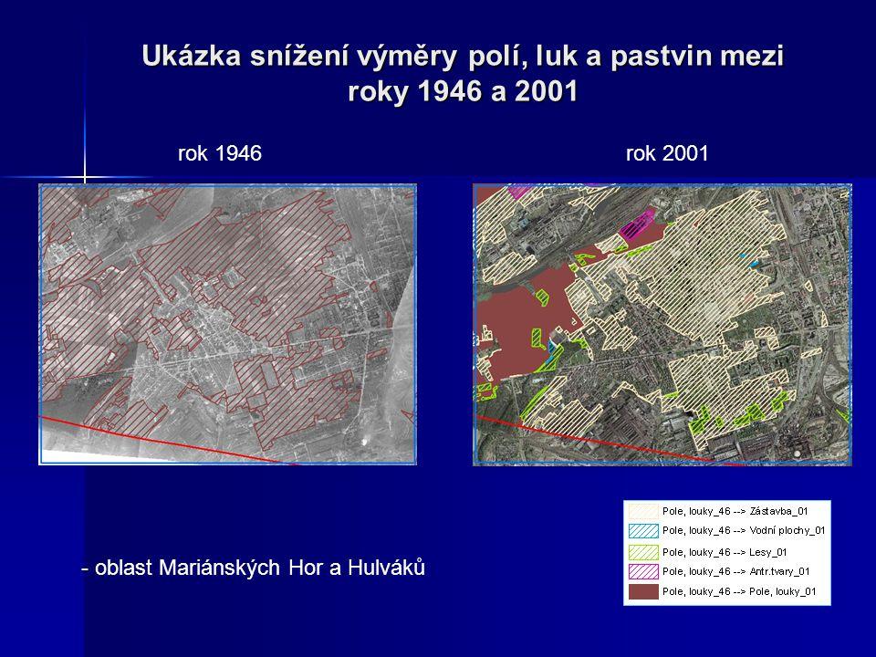 Ukázka snížení výměry polí, luk a pastvin mezi roky 1946 a 2001