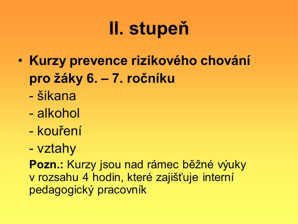 II. stupeň Kurzy prevence rizikového chování pro žáky 6. – 7. ročníku
