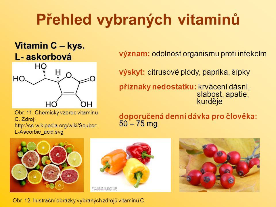 Přehled vybraných vitaminů