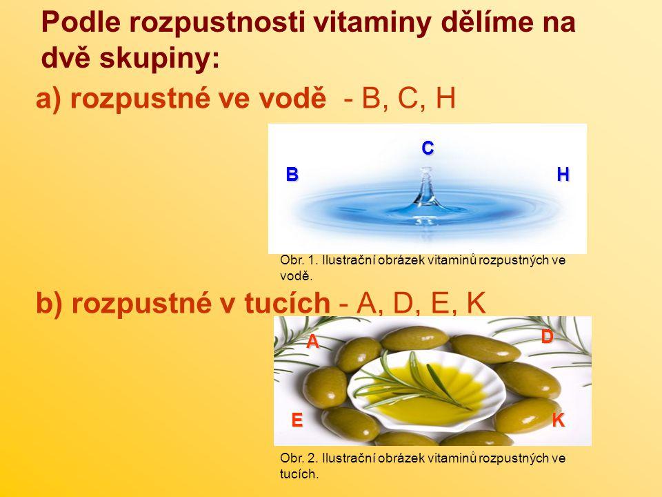 Podle rozpustnosti vitaminy dělíme na dvě skupiny: