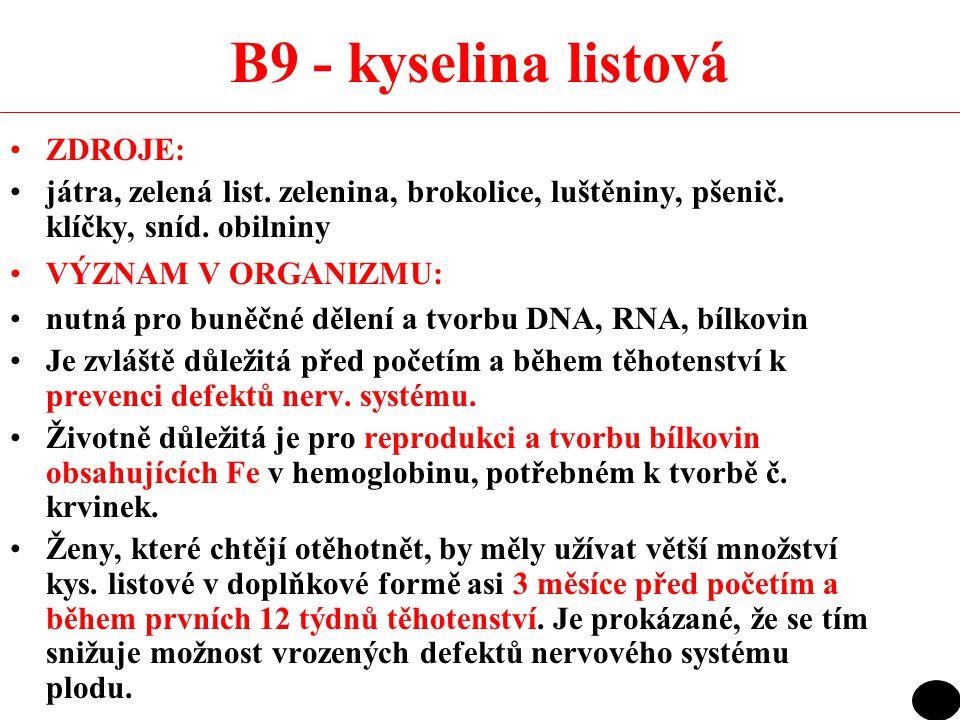 B9 - kyselina listová ZDROJE: