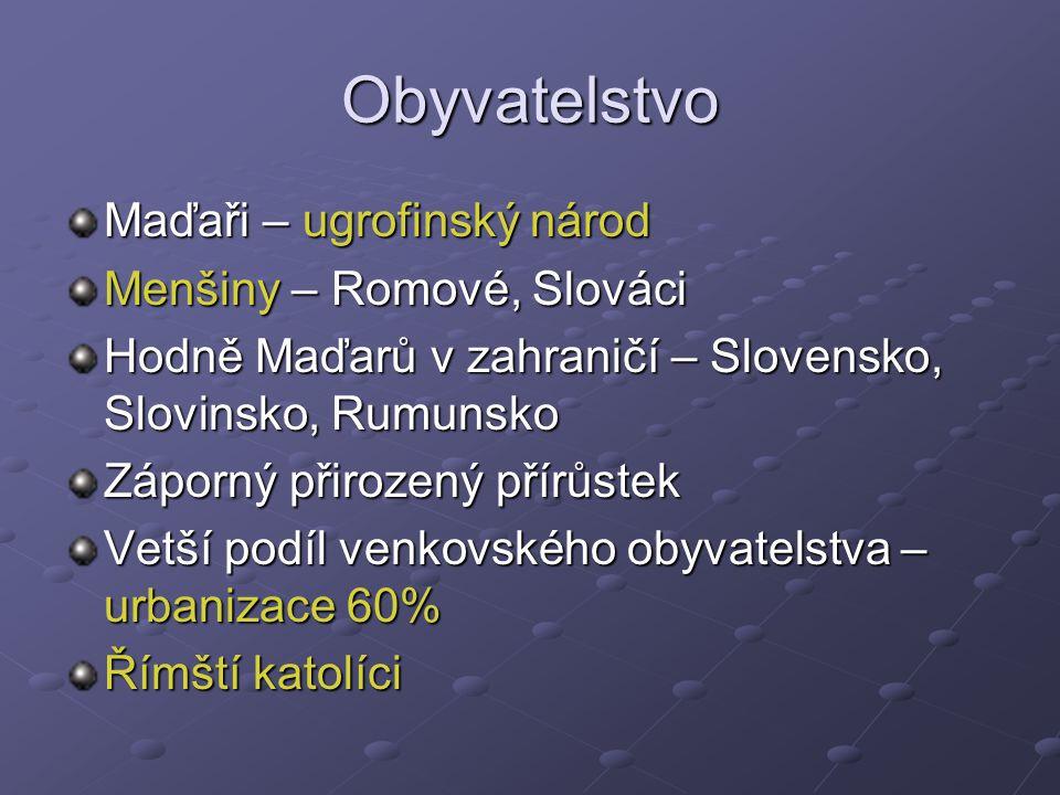 Obyvatelstvo Maďaři – ugrofinský národ Menšiny – Romové, Slováci