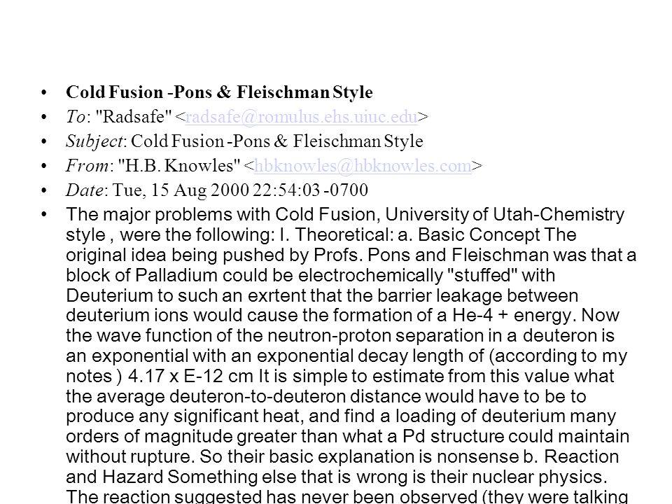 Cold Fusion -Pons & Fleischman Style