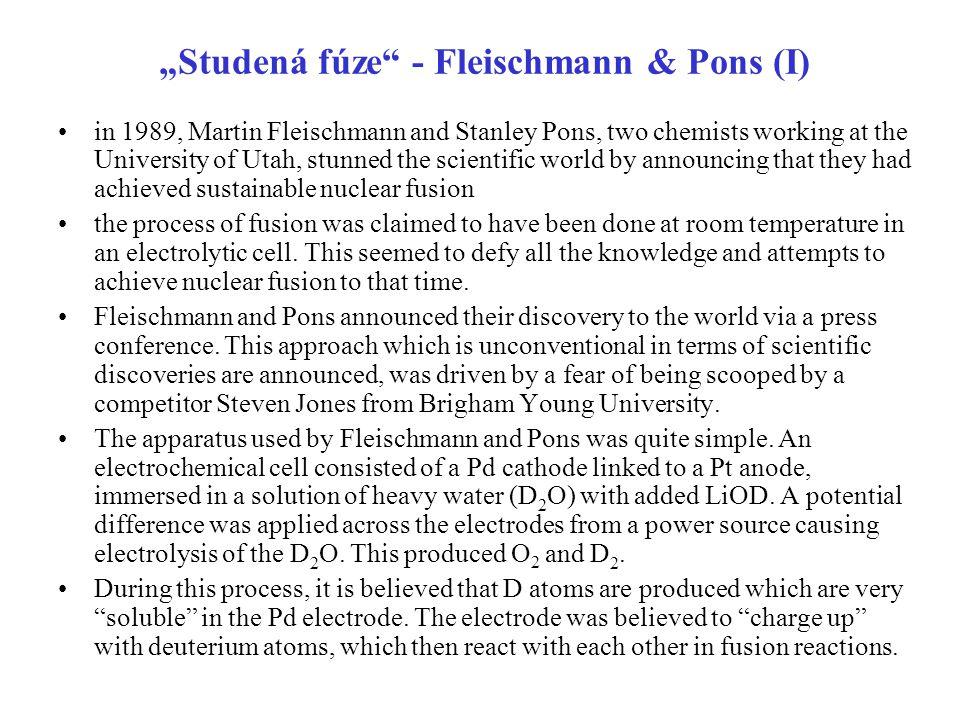 """""""Studená fúze - Fleischmann & Pons (I)"""