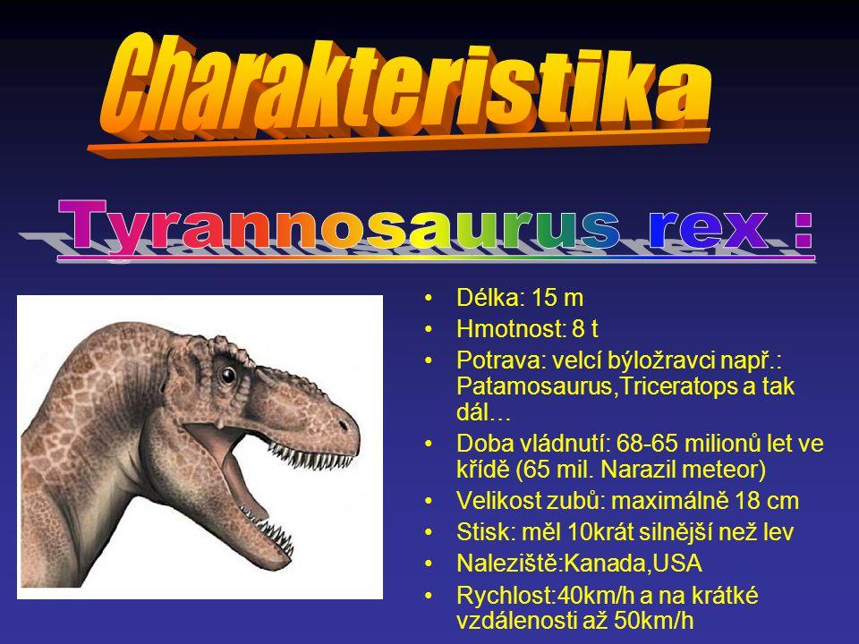 Charakteristika Tyrannosaurus rex : Délka: 15 m Hmotnost: 8 t