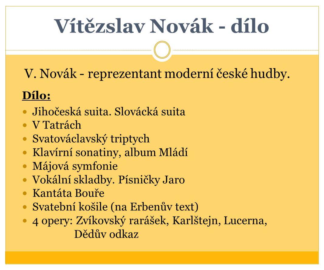 Vítězslav Novák - dílo Dílo: Jihočeská suita. Slovácká suita V Tatrách