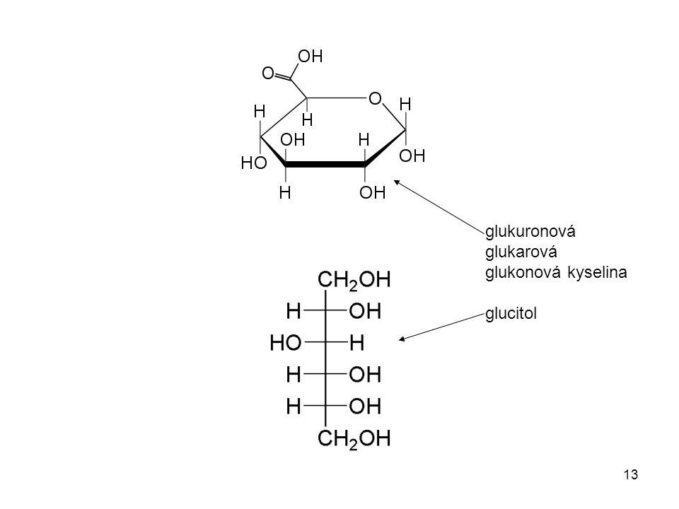 glukuronová glukarová glukonová kyselina glucitol