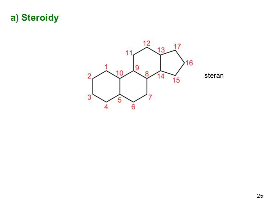 a) Steroidy steran