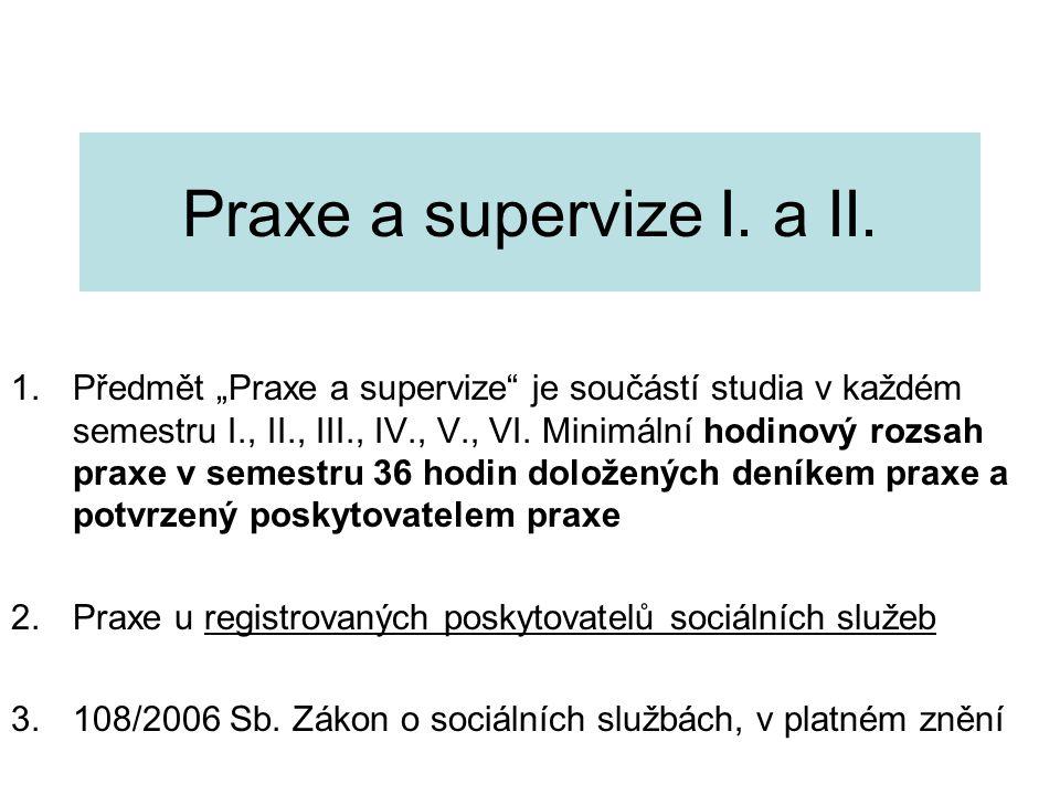Praxe a supervize I. a II.
