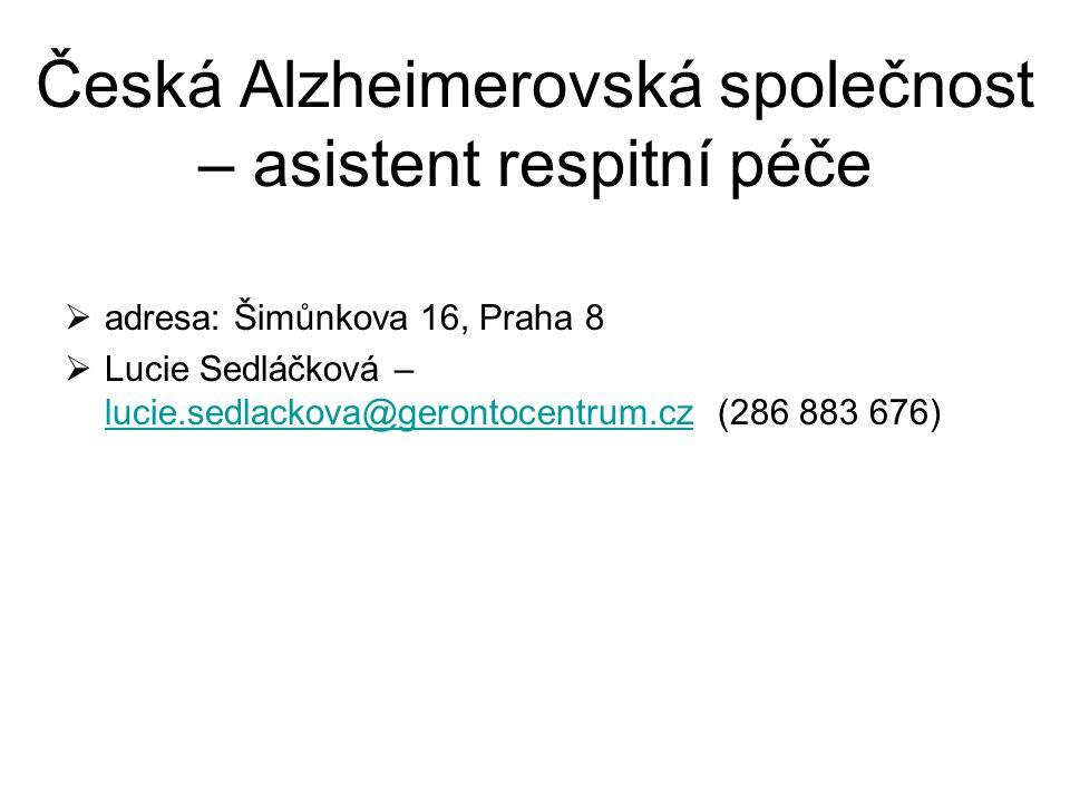 Česká Alzheimerovská společnost – asistent respitní péče
