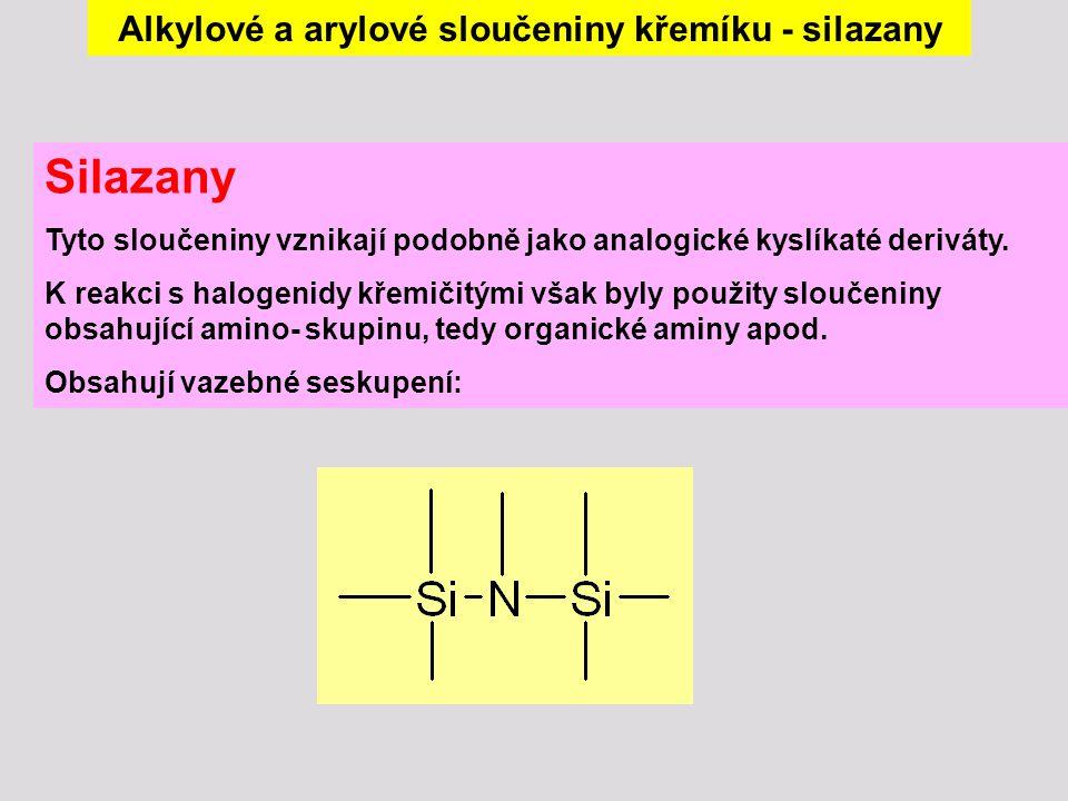 Alkylové a arylové sloučeniny křemíku - silazany