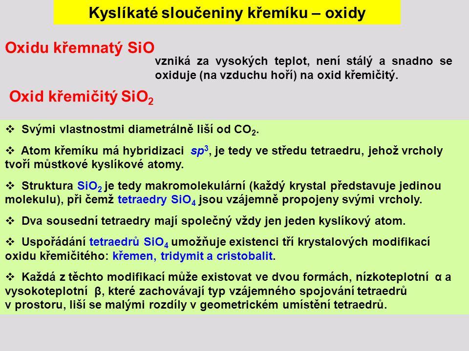 Kyslíkaté sloučeniny křemíku – oxidy