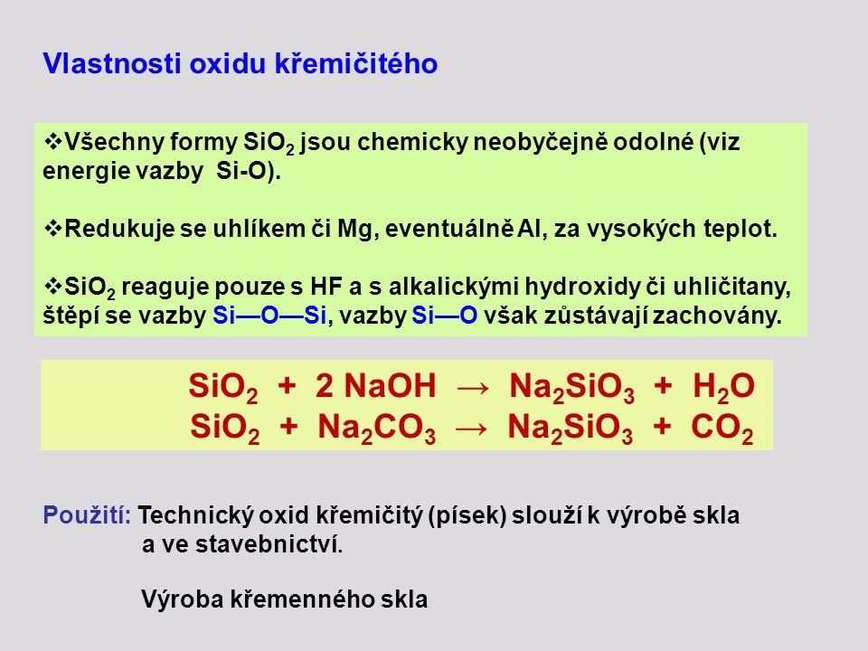 Vlastnosti oxidu křemičitého