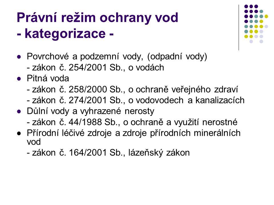 Právní režim ochrany vod - kategorizace -