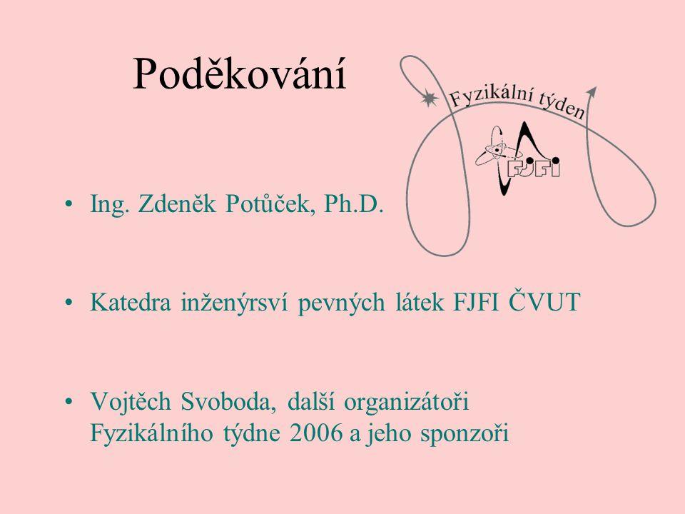 Poděkování Ing. Zdeněk Potůček, Ph.D.