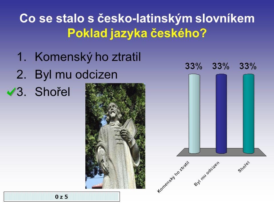 Co se stalo s česko-latinským slovníkem Poklad jazyka českého